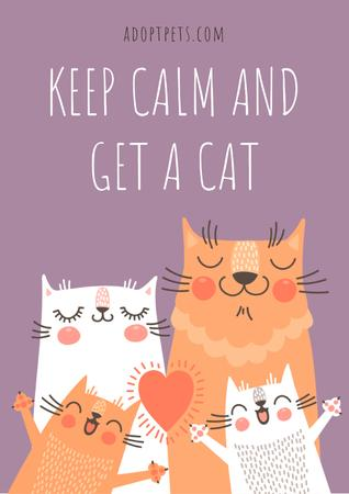 Template di design Keep calm and get a Cat Poster