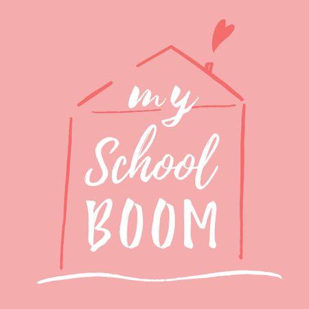 Back to School Ad with Cute House Illustration Logo – шаблон для дизайну
