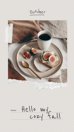 Autumn Inspiration with Figs and Coffee Instagram Story Modelo de Design