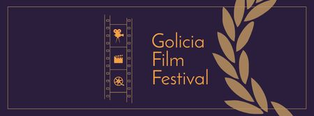Plantilla de diseño de Film Festival Announcement with Filmstrip Facebook cover