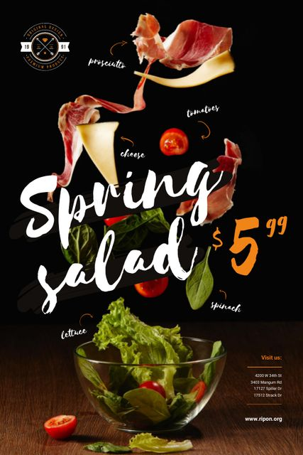 Spring Menu Offer with Salad Falling in Bowl Tumblr Design Template