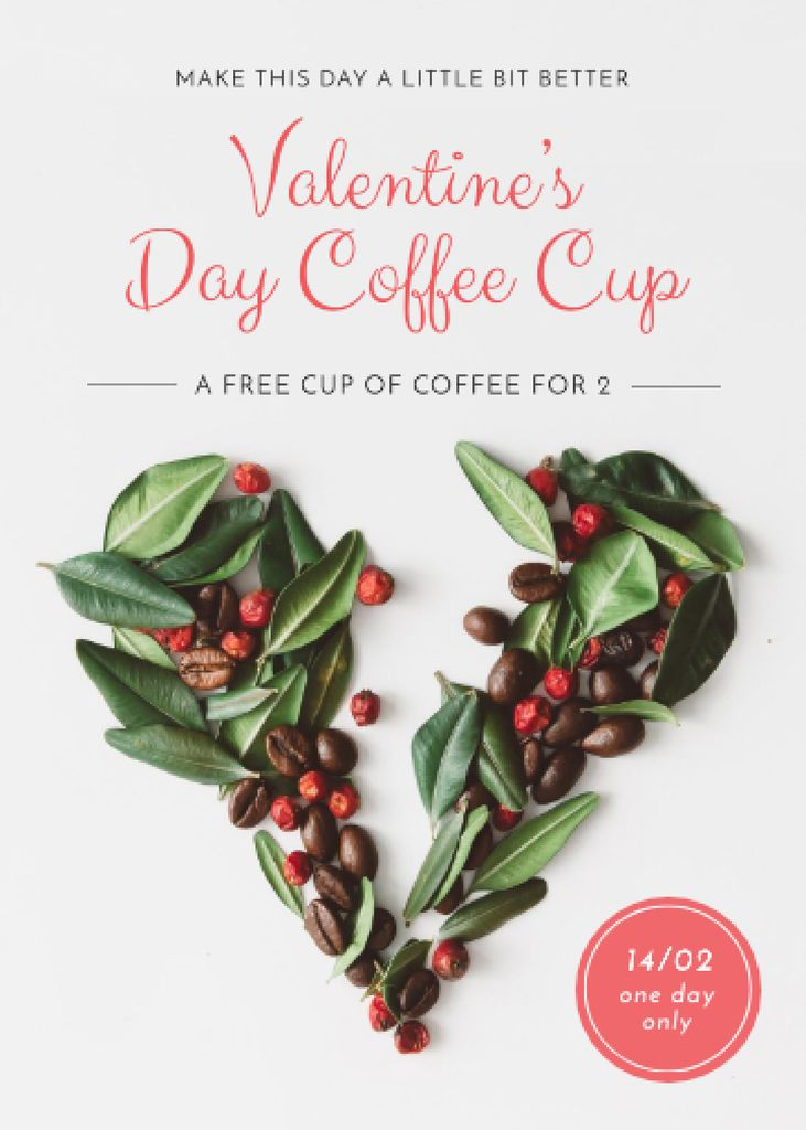 Valentine's Day Coffee beans Heart Flayer Design Template