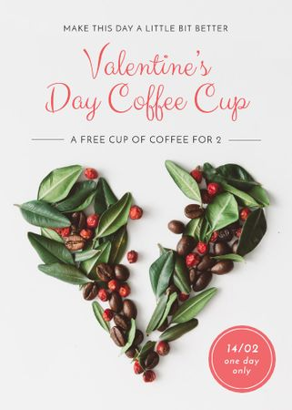 Valentine's Day Coffee beans Heart Flayerデザインテンプレート