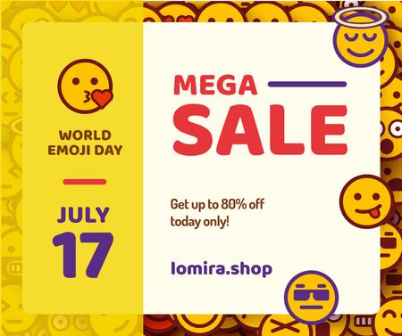 Sale Offer Funny Emoji Set Facebook Modelo de Design