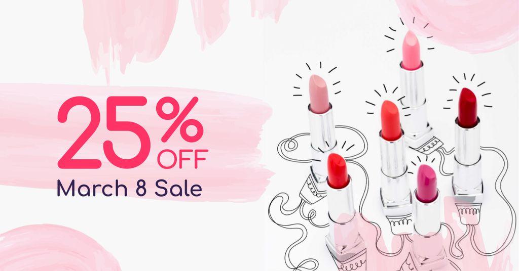 March 8 Lipsticks Sale Offer Facebook AD Design Template
