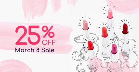 March 8 Lipsticks Sale Offer Facebook ADデザインテンプレート