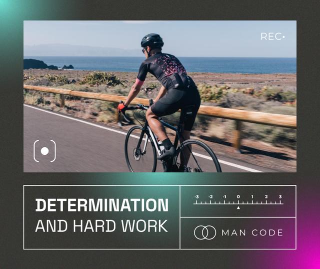 Manhood Inspiration with Cyclist riding on Seacoast Facebook Modelo de Design