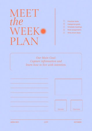 Designvorlage Weekly Tasks Planning für Schedule Planner