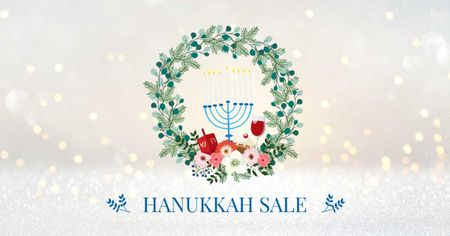 Template di design Hanukkah Sale with Menorah and Wreath Facebook AD