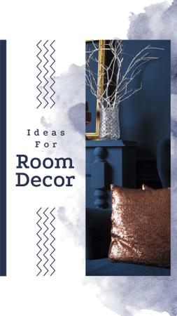 Modèle de visuel Room Decor Ideas with Blue Armchair - Instagram Story