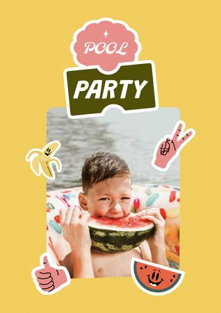 Pool Party Invitation with Kid eating Watermelon Poster – шаблон для дизайна