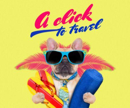 Modèle de visuel Funny Dog in Sunglasses on Vacation - Medium Rectangle