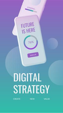 Digital Strategy with Modern Smartphone Instagram Story Modelo de Design