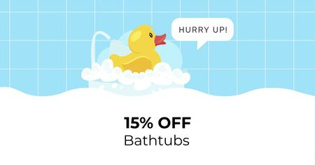 Plantilla de diseño de Bathtub with Foam and Rubber Duck Facebook AD