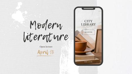 Ontwerpsjabloon van FB event cover van Online Reading App Announcement with Books on Phone Screen