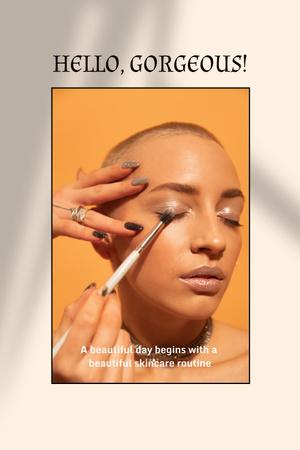 Woman applying Beautiful Makeup Pinterest – шаблон для дизайна