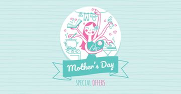 Mother's Day Offer with multitasking Mother