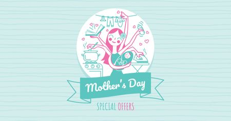 Template di design Mother's Day Offer with multitasking Mother Facebook AD