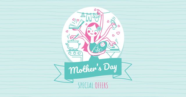 Mother's Day Offer with multitasking Mother Facebook AD – шаблон для дизайну