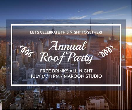 Roof party invitation on city view Facebook Modelo de Design