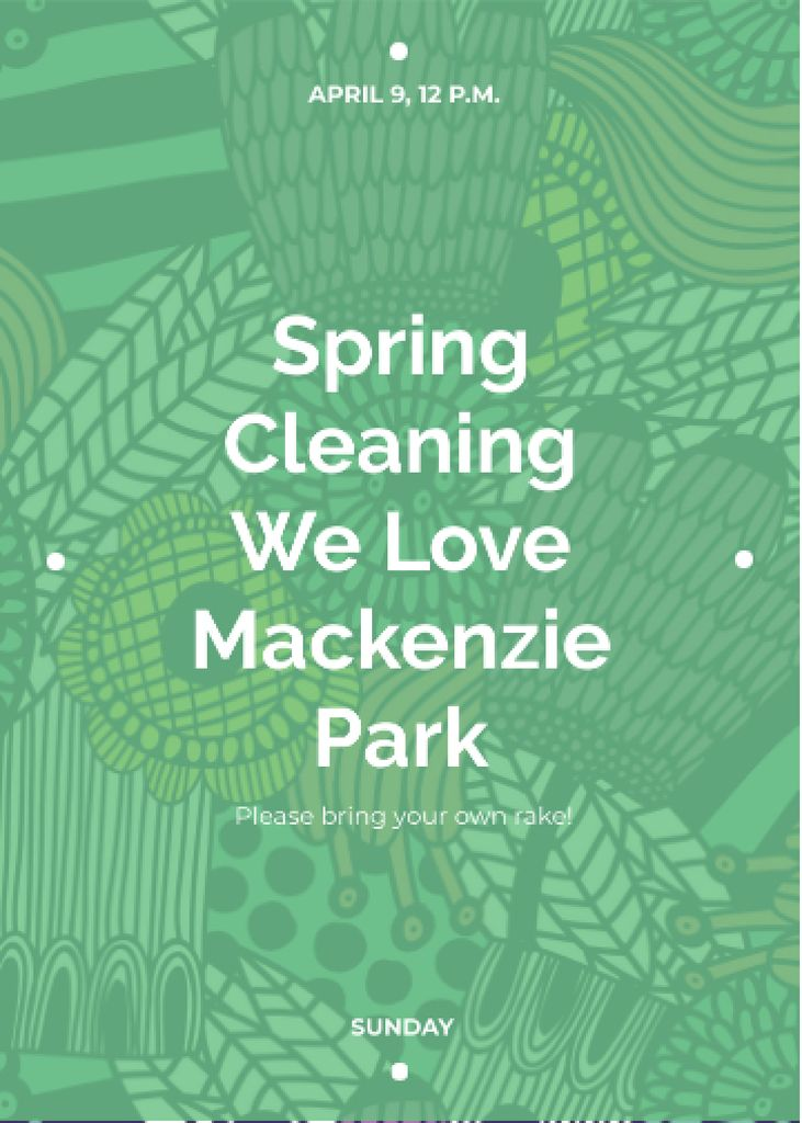 Spring Cleaning Event Invitation Green Floral Texture — Crear un diseño