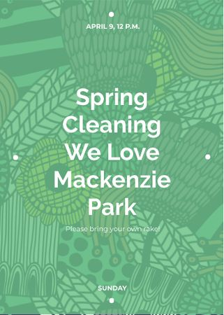 Spring Cleaning Event Invitation Green Floral Texture Invitation – шаблон для дизайна