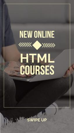 Szablon projektu Programming Courses Ad with man using laptop Instagram Story
