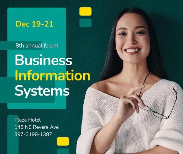 Business Conference announcement smiling Businesswoman Facebook Tasarım Şablonu