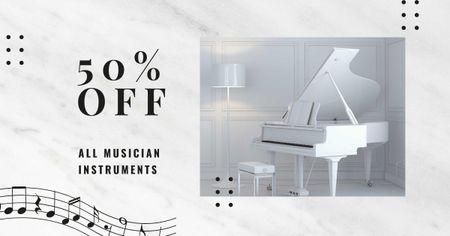 Plantilla de diseño de Musical Instruments Offer with Piano in White Room Facebook AD