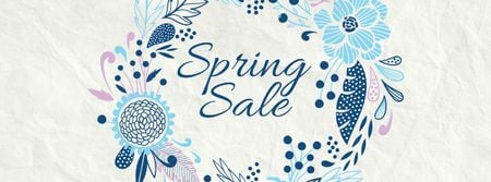 Template di design Spring Sale Flowers Wreath in Blue Facebook cover