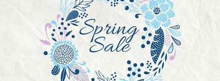 Spring Sale Flowers Wreath in Blue Facebook coverデザインテンプレート