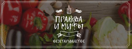 Vegetarian Food Vegetables on Wooden Table Facebook cover – шаблон для дизайна