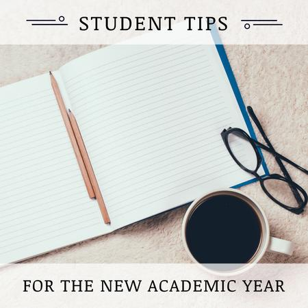 Student Tips Open Notebook and Coffee Instagram AD Modelo de Design
