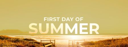 First Day of Summer Celebration with Sunny Beach Facebook cover – шаблон для дизайну