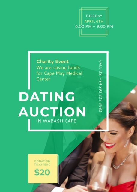 Smiling Woman at Dating Auction Flayer Modelo de Design