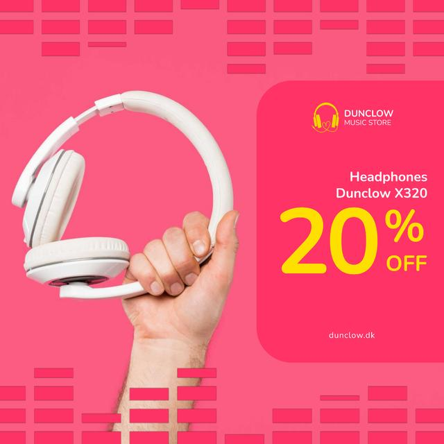 Special Sale with Man holding headphones Animated Post Design Template