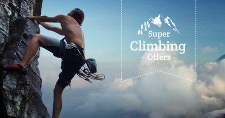 Designvorlage Rock Climbing Sport Ad with Climber für Facebook AD