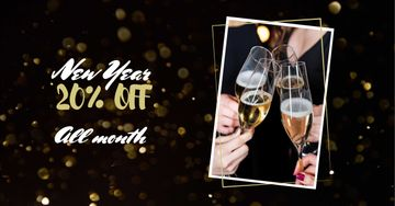New Year Discount Offer with Champagne