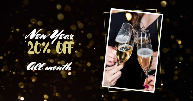 New Year Discount Offer with Champagne Facebook AD Modelo de Design