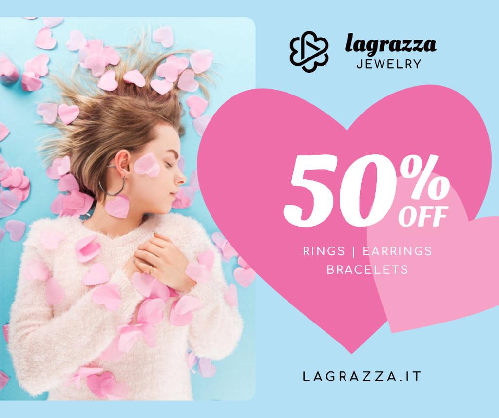 Jewelry Sale Woman in Pink Hearts – Stwórz projekt