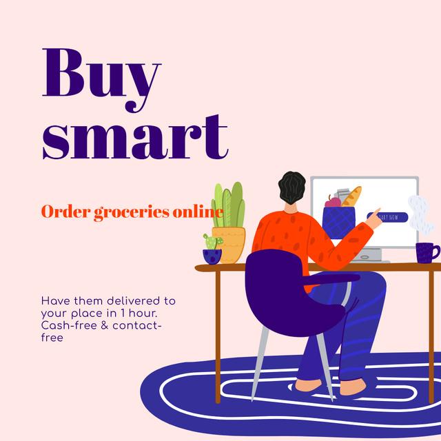 Buy Smart Quote with Man shopping Online Instagram – шаблон для дизайну