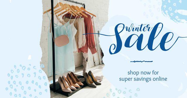 Winter Sale Offer Clothes on Hanger Facebook AD Modelo de Design