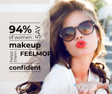 Makeup Sale Attractive Woman Blowing Kiss Facebook Tasarım Şablonu