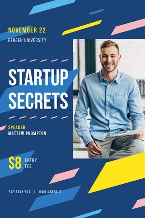 Business Event Announcement with Smiling Businessman Tumblr tervezősablon