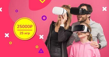 Family in VR Glasses Facebook AD – шаблон для дизайна