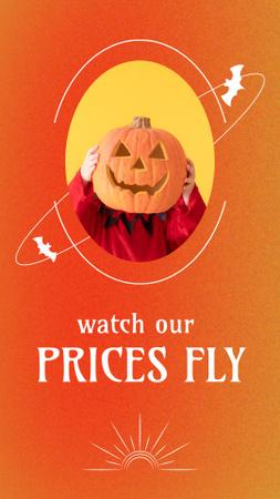 Modèle de visuel Halloween Sale Announcement with Funny Pumpkin - Instagram Story