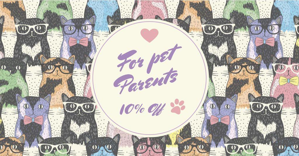 Ontwerpsjabloon van Facebook AD van Funny Cats in Glasses