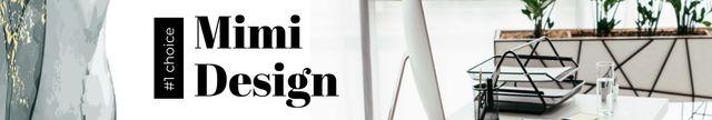 Design Studio ad on office table LinkedIn Cover Design Template