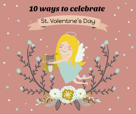 Template di design Valentine's day greeting with Angel Facebook