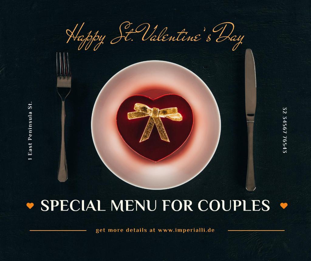 Plantilla de diseño de Valentine's Day Dinner with Heart Box Facebook